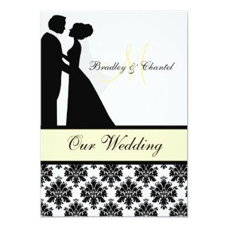 "Black, Yellow, and White Couple Wedding Invitation 5"" X 7"" Invitation Card"