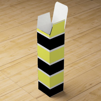 Black, Yellow and White Striped Wine Gift Box