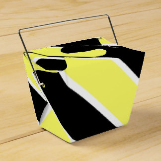 Black, Yellow and White Stripes Favour Box