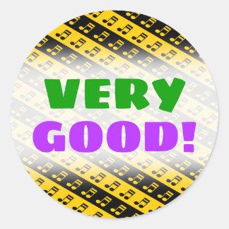 Black & Yellow Beamed Sixteenth Notes Pattern Classic Round Sticker