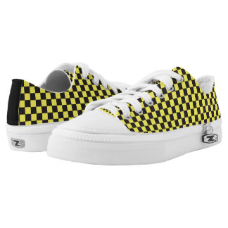 Black & Yellow Checkered Shoes Printed Shoes