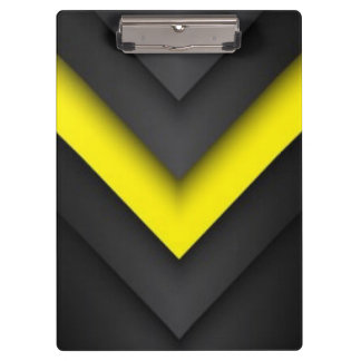 Black & Yellow Chevron Pattern Print Design Clipboards
