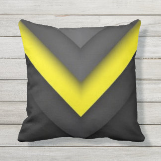 Black & Yellow Chevron Pattern Print Design Outdoor Cushion