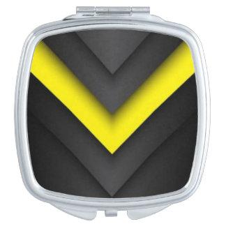 Black & Yellow Chevron Pattern Print Design Travel Mirror