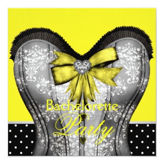 Black Yellow Damask Corset Bachelorette Party Announcement