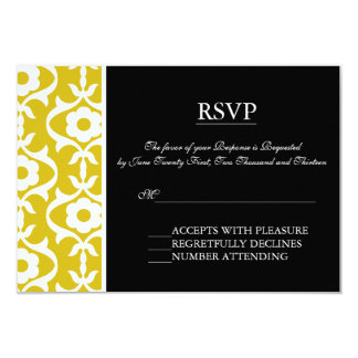 Black & Yellow Damask Elegant RSVP cards Personalized Announcement