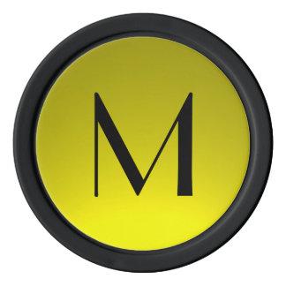 Black yellow fade custom monogram poker chips
