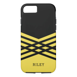 Black & Yellow Geometric - Add Your Name iPhone 7 Case