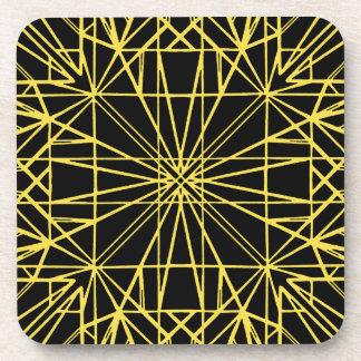 Black & Yellow Geometric Symmetry Coaster