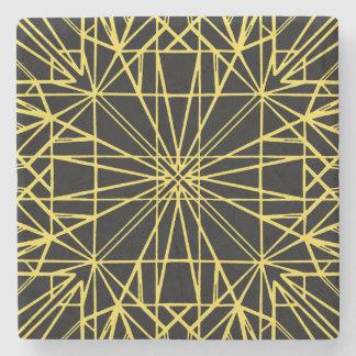 Black & Yellow Geometric Symmetry Stone Coaster