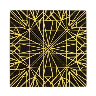 Black & Yellow Geometric Symmetry Wood Coaster
