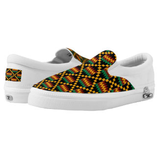 Black Yellow Green Red African Kwanzaa Kente Cloth Slip On Shoes