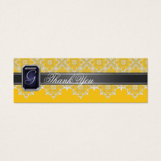 Black & Yellow Lace Jeweled Wedding Favor Tag
