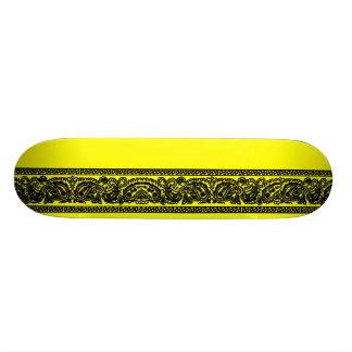 Black & Yellow Paisley Skateboard Pro