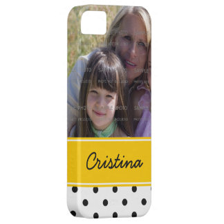 Black Yellow Polka Dots Photo Template Custom Name iPhone 5 Cover