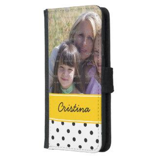 Black Yellow Polka Dots Photo Template Custom Name Samsung Galaxy S5 Wallet Case