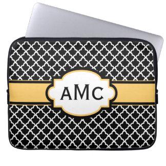 Black Yellow Quatrefoil Monogram Laptop Sleeve