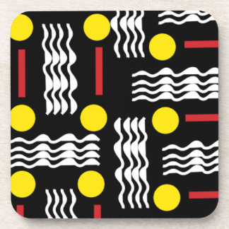 Black Yellow Red Abstract Coasters