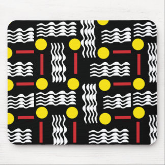 Black Yellow Red Abstract Textile Mouse Pad