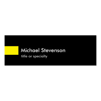 Black Yellow Slim Unique Consultant Double-Sided Mini Business Cards (Pack Of 20)