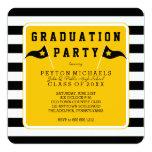 Black  Yellow Sporty Flag Striped Graduation Party 13 Cm X 13 Cm Square Invitation Card