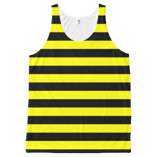 Black & Yellow Stripes Pattern All-Over Print Singlet