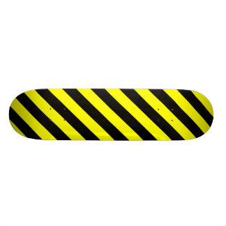 Black & Yellow Stripes Pattern Skateboard