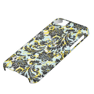 Black Yellow & White Floral Damasks Pattern iPhone 5C Case