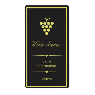 Black Yellow Wine Label Shipping Label