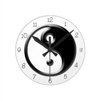 Black Yin Yang Round Clock