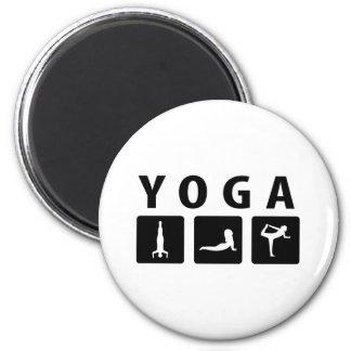 black yoga icon 6 cm round magnet