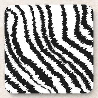 Black Zebra Print Pattern. Beverage Coasters