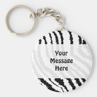 Black Zebra Print Pattern. Key Ring