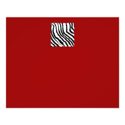 Black Zebra Print Pattern on Deep Red. Flyer Design