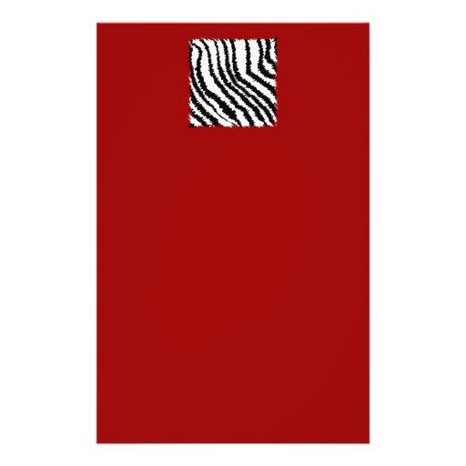 Black Zebra Print Pattern on Deep Red. Custom Flyer
