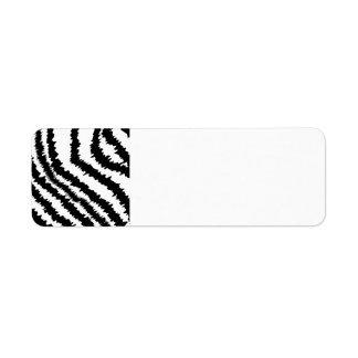 Black Zebra Print Pattern. Return Address Label