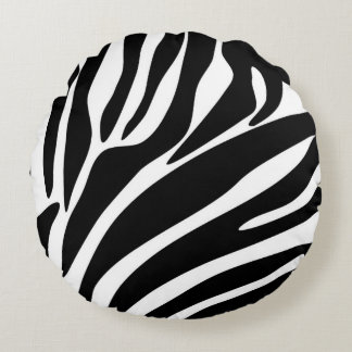 Black Zebra Print Pattern Round Cushion
