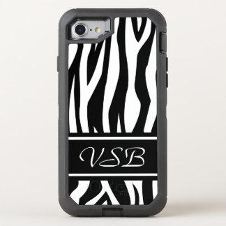 Black Zebra Print with monogram OtterBox Defender iPhone 8/7 Case