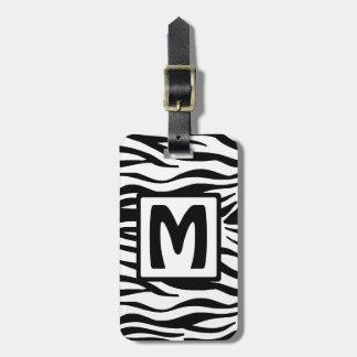 Black Zebra Squared Monogram Luggage Tag
