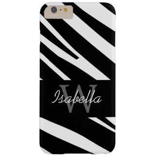 BLACK ZEBRA STRIPES INITIAL NAME BARELY THERE iPhone 6 PLUS CASE
