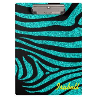 Black Zebra Stripes Monogram Teal Glitter Clipboard