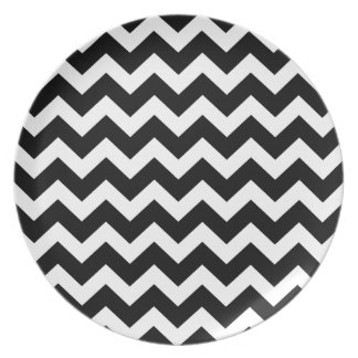 Black zig zag Party wrap edition Dinner Plates