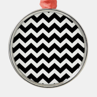 Black zig zag Party wrap edition Silver-Colored Round Decoration