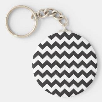 Black zig zags zigzag chevron pattern basic round button key ring