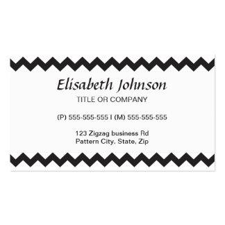 Black zig zags zigzag chevron pattern business card template