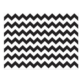Black zig zags zigzag chevron pattern postcard