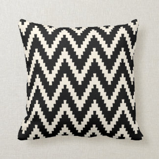 Black Ziggurat Chevron Pattern Pillow
