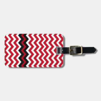 Black Zigzag Border On Red and White Luggage Tag