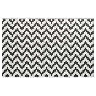 Black Zigzag Ikat & Custom White Background Fabric