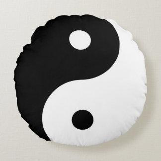 blackandwhite zen yin-yang symbol round cushion